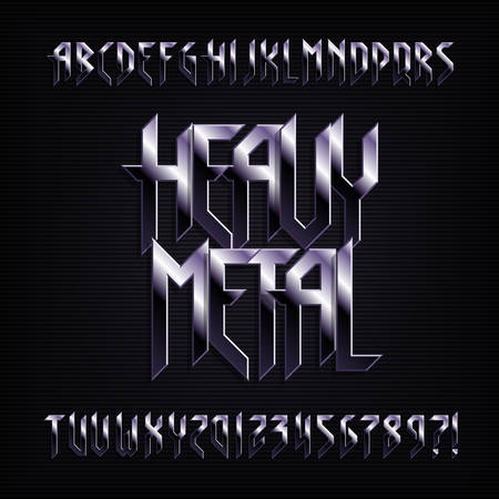 Illustration for Heavy metal alphabet font. Metal effect shiny letters, numbers and symbols. Stock vector typeface for your design. - Royalty Free Image