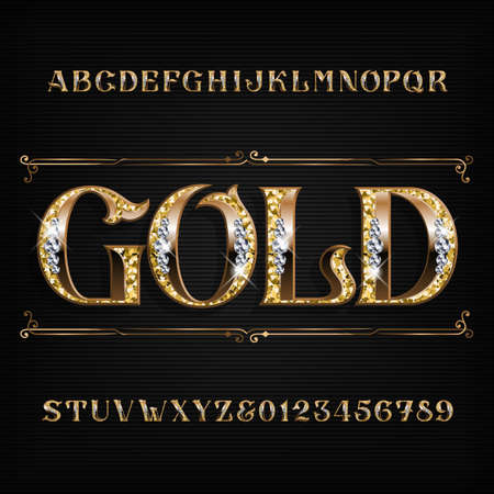 Ilustración de Ornate gold alphabet font. Jeweler golden letters and numbers with diamond gemstones. Stock vector typescript for your design. - Imagen libre de derechos