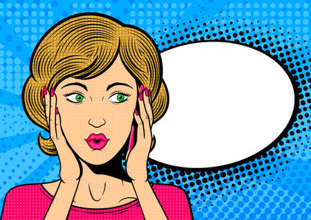 Ilustración de Pop art woman talk on mobile phone. Surprised female face with speech bubble. Retro dotted background. Stock vector illustration. - Imagen libre de derechos