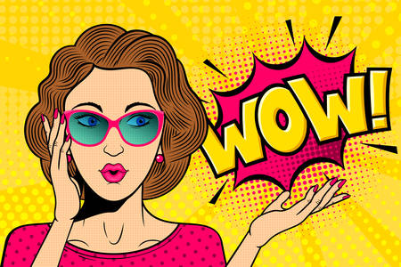 Illustration for Pop art surprised female face. Comic woman in glasses with wow! speech bubble. Retro pink dotted background. Stock vector illustration for discount or party invitation poster. - Royalty Free Image