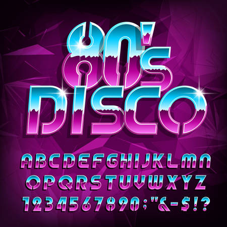Ilustración de 80s Disco alphabet font. Letters, numbers and symbols on polygonal background. Stock vector typescript for your design in retro 80s style. - Imagen libre de derechos