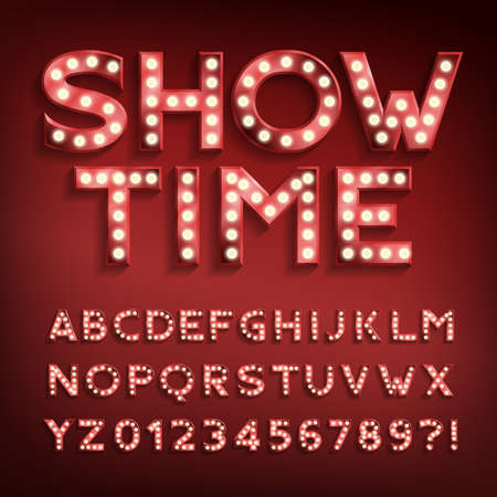 Illustration pour Show Time alphabet font. Letters and numbers with light bulbs and shadows. Vector typeface for your typography design. - image libre de droit