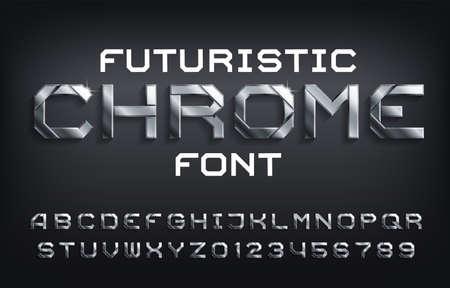 Illustration pour Futuristic Chrome alphabet font. Metallic letters, numbers and symbols with shadow. Stock vector typescript for your design. - image libre de droit