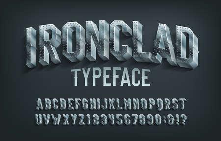 Illustration pour Ironclad alphabet font. 3D metal letters and numbers. Stock vector typescript for your design. - image libre de droit