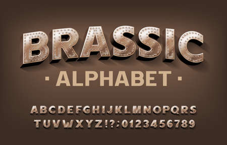 Illustration pour Brassic alphabet font. Steampunk scratched letters and numbers with rivet. Stock vector typescript for your design. - image libre de droit