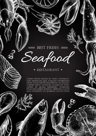 Vector vintage seafood restaurant flyer. Hand drawn chalkboard banner. Great for menu, banner, flyer, card, seafood business promote.