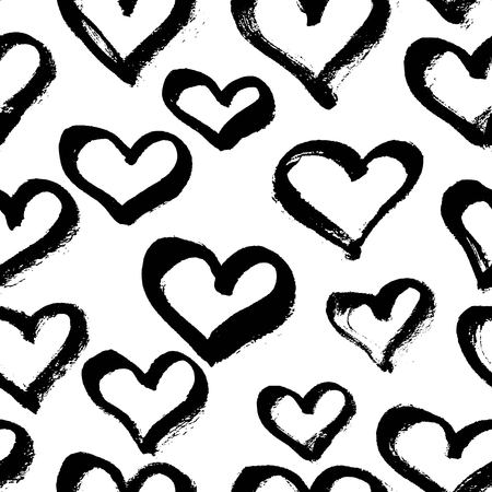 Illustration pour Vector seamless modern heart pattern. Trendy ink hand drawn illustration. Great for valentine cards, backgrounds, wrapping paper. - image libre de droit