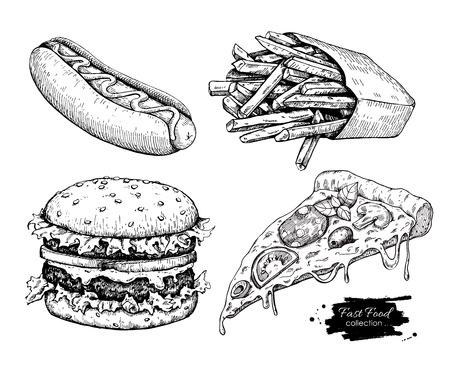 Illustration for Vector vintage fast food drawing set. Hand drawn monochrome junk food illustration. Great for menu, poster or label. - Royalty Free Image