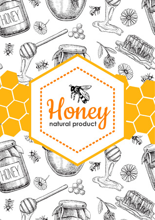Illustration pour Vector honey bee hand drawn illustrations. Honey jar, bee, honeycomb, flower objects. Honey banner, poster, label, brochure template for business promote. - image libre de droit