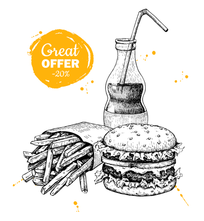 Illustration for Vector vintage fast food special offer. Hand drawn monochrome junk food illustration. Soda, burger and french fries drawing. Great for poster, banner, voucher, coupon, business promote. - Royalty Free Image
