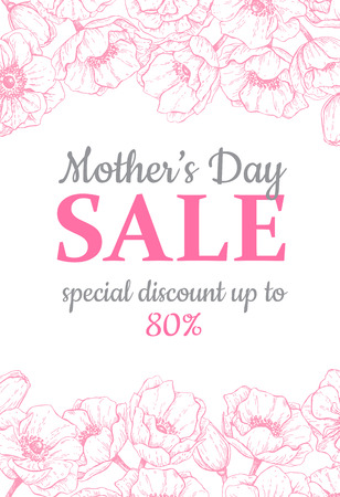 Illustration for Mother's day sale illustration. Detailed flower drawing. Great banner, flyer, poster, brochure for your business holiday discount. Mothers day special offer. - Royalty Free Image