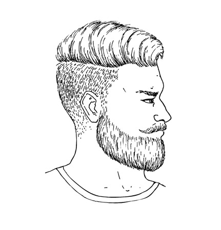 Illustration pour Vector hand drawn adult man with beard and mustage side portrait. Trendy bearded Hipster style. Engraved illustration - image libre de droit