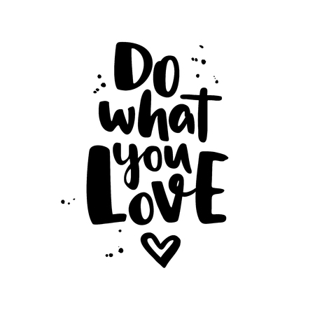 Illustration pour Do what you love. Modern vector lettering with heart and ink splashes. Isolated motivational handwritten quote. Trendy brush calligraphy. Hand lettering for posters, invitations, cards, t shirt - image libre de droit