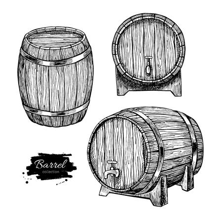 Illustration pour Vector wooden barrel. Hand drawn vintage  illustration in engraved style. Alcohol, wine, beer or whiskey old wood keg. Great for pub or restaurant menu, label, poster, logo. - image libre de droit