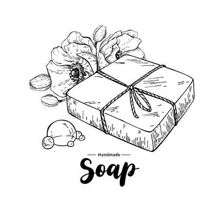 Illustration pour Handmade natural soap. Vector hand drawn illustration of organic cosmetic with flowers and lettering. Herbal bodycare. Great for label, logo, banner, packaging, spa and body care promote - image libre de droit