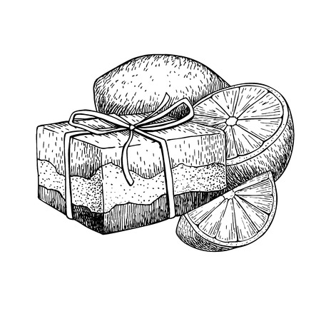 Illustration pour Handmade natural soap. Vector hand drawn illustration of organic cosmetic with lemon. Great for label, logo, banner, packaging, spa and body care promote - image libre de droit
