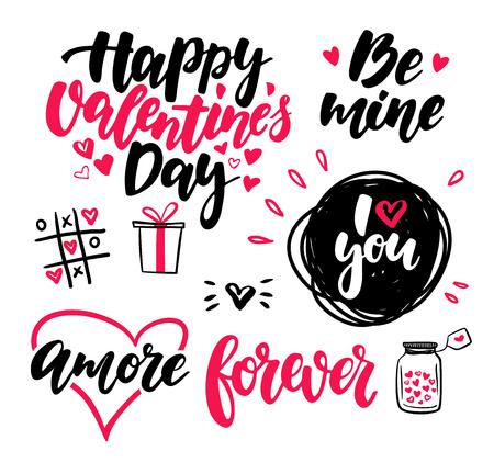 Ilustración de Valentine s Day lettering vector set. Isolated handwriting calli - Imagen libre de derechos