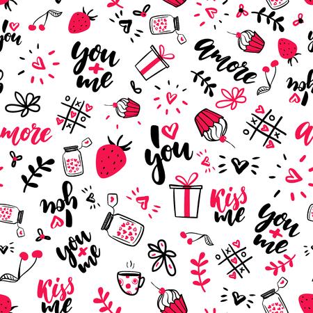 Ilustración de Valentine s Day vector seamless pattern. Isolated Artistic doodle drawings, lettering, love quotes. - Imagen libre de derechos