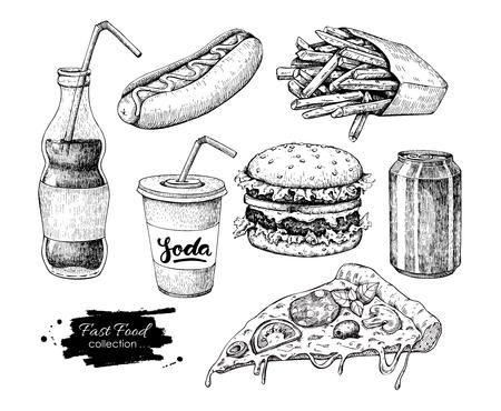 Illustration for Fast food vector hand drawn set. Engraved style junk food illust - Royalty Free Image