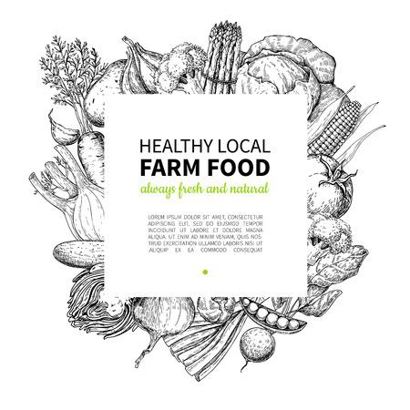 Ilustración de Vegetable hand drawn vintage vector frame illustration. Farm Market poster. - Imagen libre de derechos