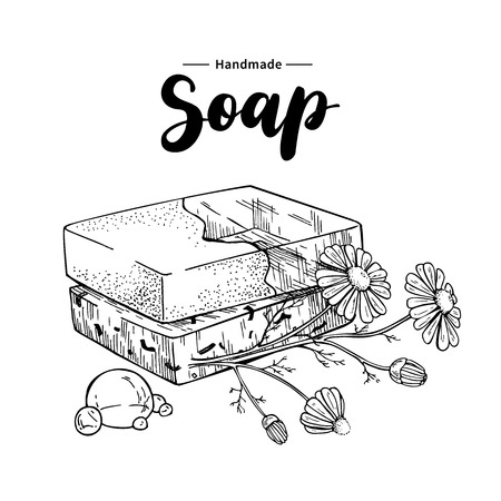 Illustration pour Handmade natural soap. Vector hand drawn illustration of organic cosmetic with chamomile medical flowers - image libre de droit