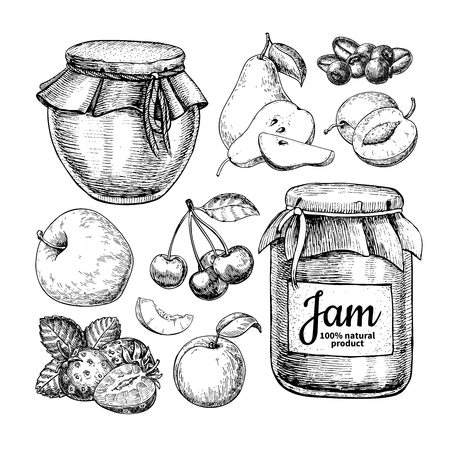 Illustration pour Fruit jam glass jar vector drawing. Jelly and marmalade with str - image libre de droit
