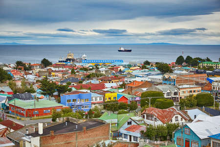 Scenic view of Punta Arenas with Magellan Strait in Patagonia, Chile, South America