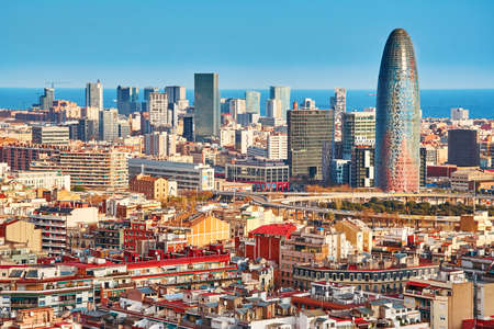Photo pour Scenic aerial view of the Agbar Tower in Barcelona in Spain - image libre de droit