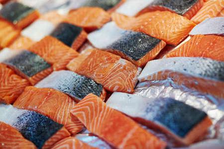Delicious salmon on farmer market in Paris, France