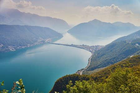 Scenic view to the lake Lugano from mountain San Salvatore in Lugano, canton of Ticino, Switzerland