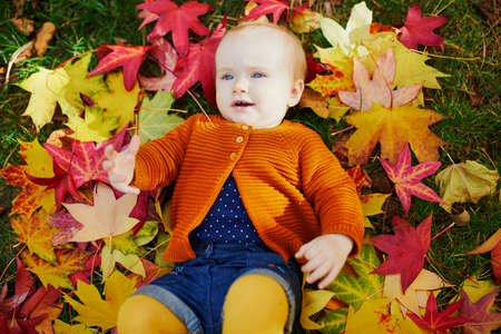 Photo pour Adorable little girl in bright stylish clothes lying on the grass and playing with colorful autumn leaves on a fall day in park - image libre de droit