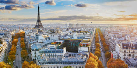 Photo pour Aerial panoramic cityscape view of Paris, France with the Eiffel tower on a fall day - image libre de droit