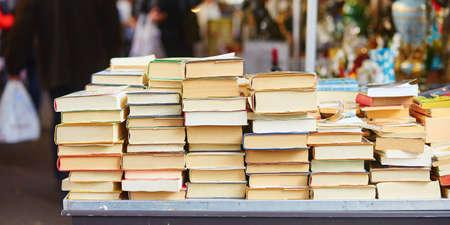 Photo for Old books on a Parisian flea market - Royalty Free Image