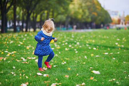 Photo pour Adorable cheerful toddler girl running in autumn park in Paris, France. Happy child enjoying warm and sunny fall day. Outdoor autumn activities for kids - image libre de droit
