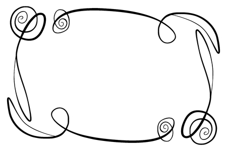 Flourish Vector Frame. Rectangle with squiggles, twirls and embellishments for image and text elements. Hand drawn black highlighting curlicue border, isolated on the white background.