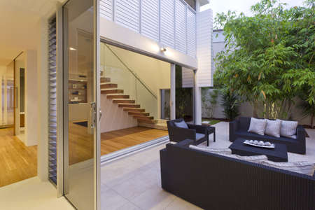 Modern backyard with entertaining area in stylish Australian home