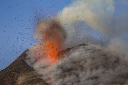 Photo for Volcano Etna eruption - Explosion and lava flow in Sicily - Royalty Free Image