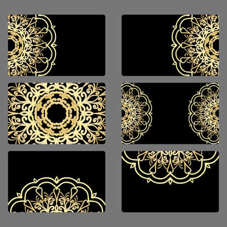 Set Business Card Vector Mandala Decor Arabic Indian