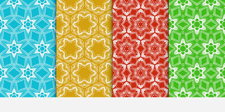 set of 4 floral seamless pattern. abstract geometry shape. vector illustration. modern ornament. For design, wallpaper, background fills, card, banner, flyer. color