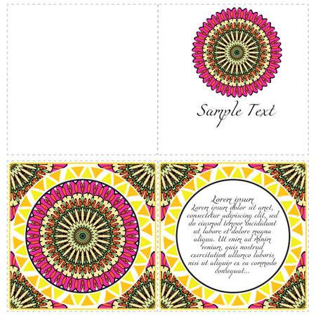 Illustration pour Vintage cards with Floral mandala pattern. Vector template. The front and rear side. - image libre de droit