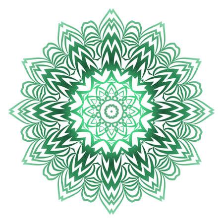 Illustration pour Green color Ornamental Circle Pattern. Hand Draw Mandala. Vintage Decorative Elements. Vector Illustration. Anti-Stress Therapy Pattern - image libre de droit
