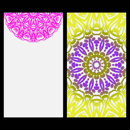 Illustration pour Invitation or Card template with floral mandala pattern. For Wedding, greeting cards, Birthday Invitation. The front and rear side. Vector illustration. - image libre de droit