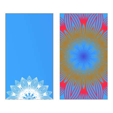 Yoga Card Template With Mandala Pattern Vector Illustration