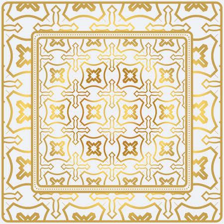 Illustration pour Geometric Pattern With Hand-Drawing Ornament. Illustration. Design For Prints, Textile, Decor, Fabric. Super Vector Pattern. Gold color. - image libre de droit
