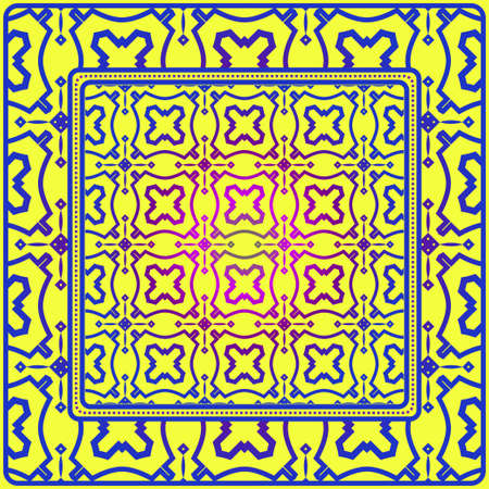 Illustration pour Geometric Decorative Elements. Abstract Background. Pattern Design Style For Print On Fabric, Papper, Silk Neck Scarf, Kerchief Design. Vector Illustration. Yellow blue color. - image libre de droit