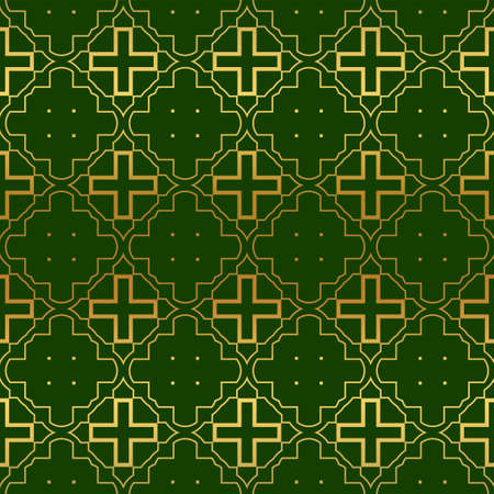 Illustration pour Vector Illustration. Pattern With Geometric Ornament, Decorative Border. Design For Print Fabric. Paper For Scrapbook, advert, poster, flyer background. Green, gold color. - image libre de droit