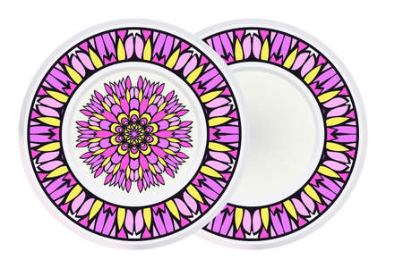 Illustration pour Set of two Decorative Ornament With Mandala and round frame. Home Decor Background. Vector Illustration. For Coloring Book, Greeting Card, Invitation, Tattoo. Anti-Stress Therapy Pattern. - image libre de droit