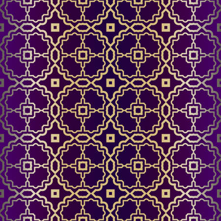Illustration pour Geometric Modern Ornament. Seamless Vector Pattern. For Wallpaper, Invitation, Fashion Design. Purple gold color. - image libre de droit