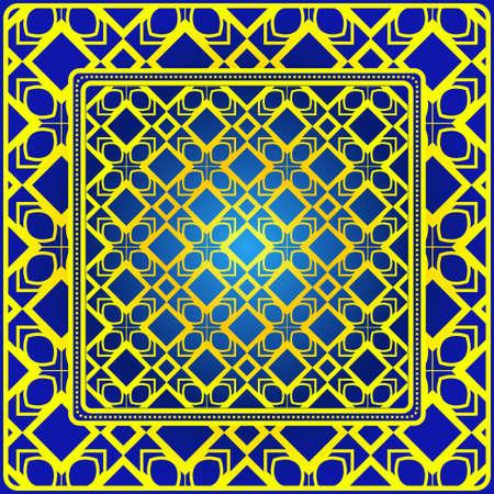 Illustration pour Design Of A Scarf With A Geometric Pattern . Vector Illustration. For Print Bandana, Shawl, Carpet, Tablecloth, Bed Cloth, Fashion. - image libre de droit