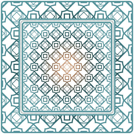 Illustration pour Decorative Ornament With Geometric Decoration. Symmetric Pattern . For Print Bandanna, Shawl, Tablecloth, Fabric Fashion, Scarf, Design. - image libre de droit